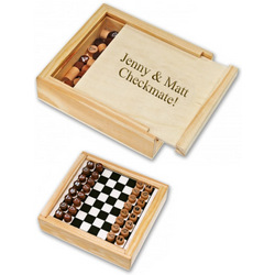 Personalized Travel Chess Set in Wood Box