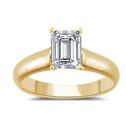 18k Yellow Gold Emerald Cut Diamond Engagement Ring
