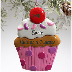 Personalized Cupcake Christmas Ornament
