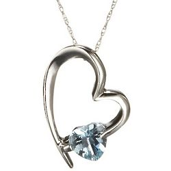 Abstract Aquamarine Gemstone Heart Pendant