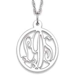 Sterling Silver Oval Monogram Necklace