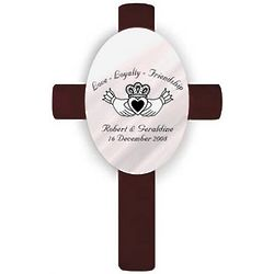 Personalized Oval Wedding Cross - Claddagh
