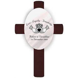 Personalized Oval Wedding Cross - Claddagh