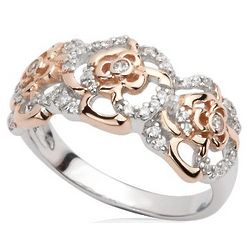 Sterling Silver Irish Rose Two Tone Ring
