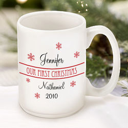 Our First Christmas Personalized Couple's Coffee Mug