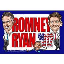 Romney/Ryan Caricature Lawn Sign