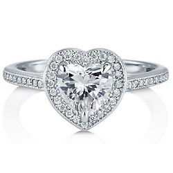 Sterling Silver Heart Cut Cubic Zirconia Halo Ring