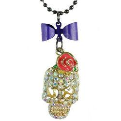 Crystal Skull Flower Necklace