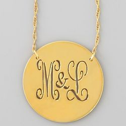 14 Karat Gold Disc Monogram Necklace
