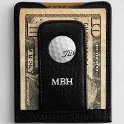 Personalized Leather Golf Money Clip