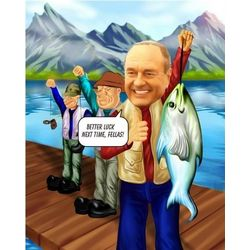 Fishing Custom Photo Caricature Print