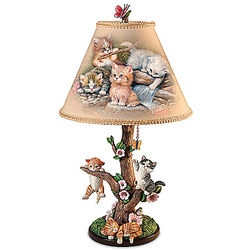 Country Kitties Accent Lamp with Jurgen Scholz Art