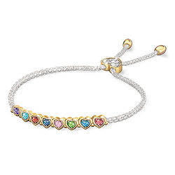 Family Bracelet with Crystal Birthstones and Personalized Names