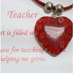Teacher's Heart Glass Pendant