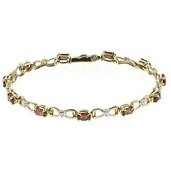 Diamond & Garnet Gold Bracelet