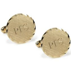 Fluted Edge Round Engraveable Cufflinks