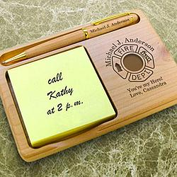 Personalized Firefighter Wooden Notepad & Pen Holder