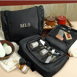 Personalized His or Hers Hanging Toiletry Bag