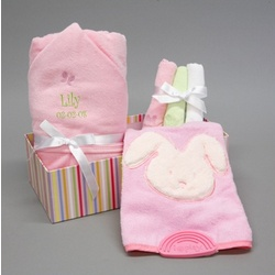 Personalized Terry Baby Girl Bath Gift Set