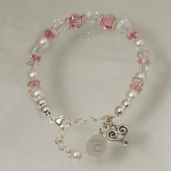 Mom Wedding Bracelet with Personalized Charm
