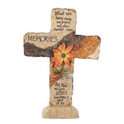 Memorial Cross with Helen Keller Comfort Quote