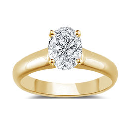 18K Yellow Gold Oval Diamond Engagement Ring