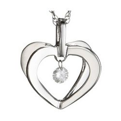 Floating Diamond Heart Promise Pendant in 14K White Gold