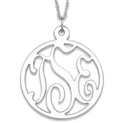 Sterling Silver 3 Initial Round Monogram Pendant