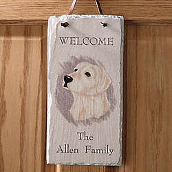 Dog Breed Personalized Slate Welcome Sign