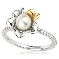 Sterling Silver Two Tone Irish Primrose Pearl Ring