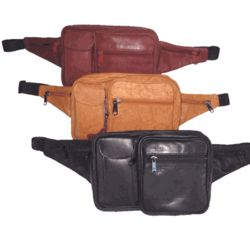 Leather Rectangular Waist Pack with Cell Phone Pocket