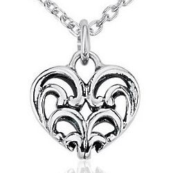 Sterling Silver Mini Filigree Heart Pendant
