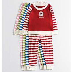 Kid's Striped Pajamas with Personalized Graphic