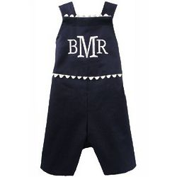 Personalized Boy's Navy Hamptons Romper
