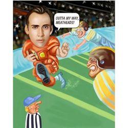 Football Player Custom Photo Caricature Print