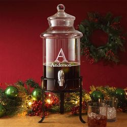 Personalized Holiday Beverage Server with Stand