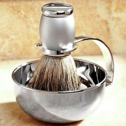 Chrome Badger Brush and Lathering Bowl