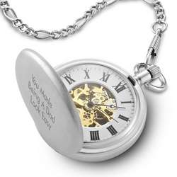 Skeleton Pocket Watch with Figaro Chain