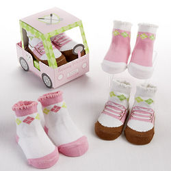 3 Pairs of Baby Girl's Fairway Footies Socks