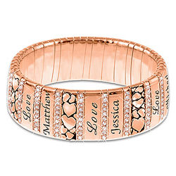 Mom's Personalized Copper Healing Bracelet with Crystals