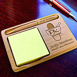 Personalized Pharmacist Wooden Notepad & Pen Holder
