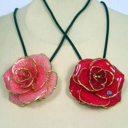 Rose Pendant Brooch with 24kt Gold Trim
