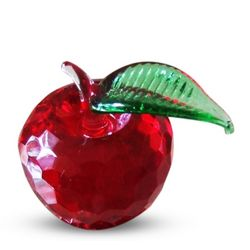 Crystal Red Apple with Green Leaf