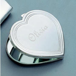 Personalized Silver Heart Compact Mirror