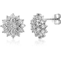 Sterling Silver Earrings Cubic Zirconia Flower Stud Post Earrings