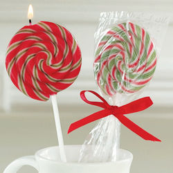 Peppermint Scented Candy Cane Lollipop Candle Set