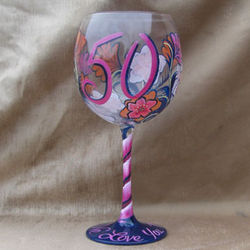 50th Birthday Hand Painted Wine Glass