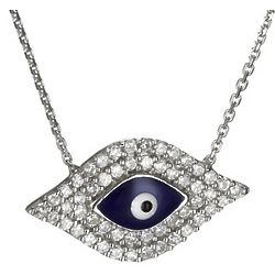 Navy Evil Eye Necklace in Sterling Silver and Cubic Zirconia
