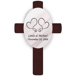 Personalized Two Hearts Oval Wedding Cross