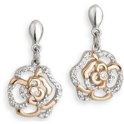 Sterling Silver Irish Rose Two Tone Drop Earrings